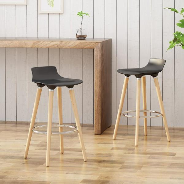 Noble House Hawkes 28.5 in. Black Plastic Tractor-Seat Bar Stools with