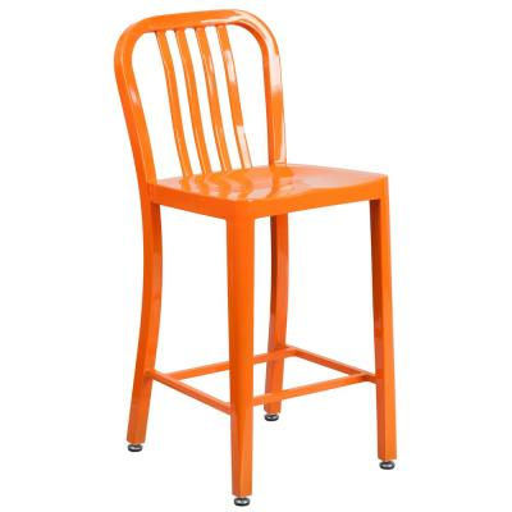 24.5 in. Orange Bar Stool