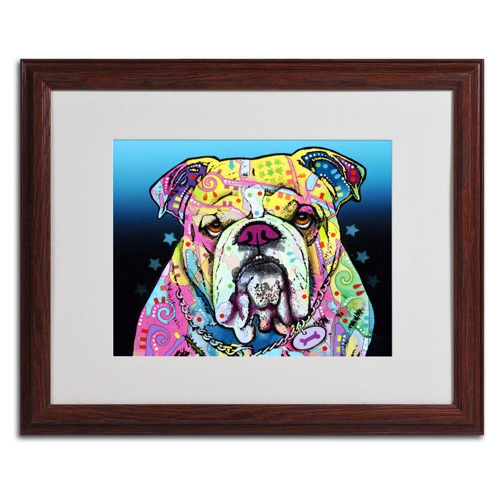 Trademark Fine Art 16 in. x 20 in. The Bulldog Matted Brown Framed Wall Art
