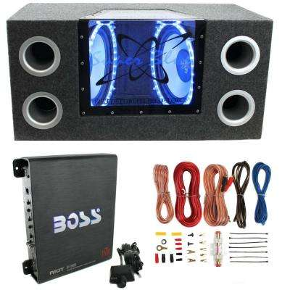 "12""1200W Car Audio Subwoofer + Box + 1100W Mono Amp +Wiring Kit"