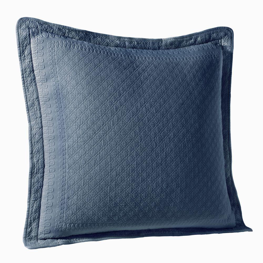 Historic Charleston Collection King Charles Provincial Blue Matelasse Cotton Euro Pillow Sham