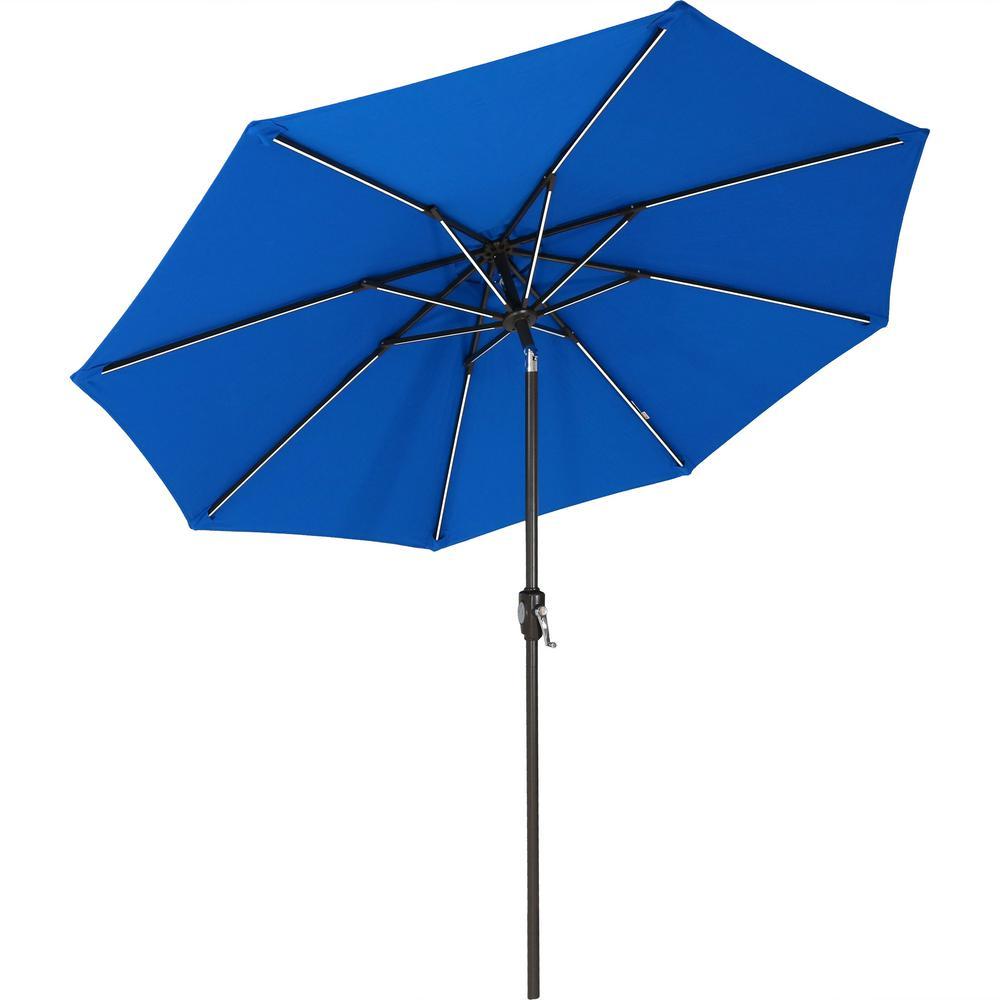 9 ft. Aluminum Market Solar Tilt Patio Umbrella in Pacific Blue Sunbrella