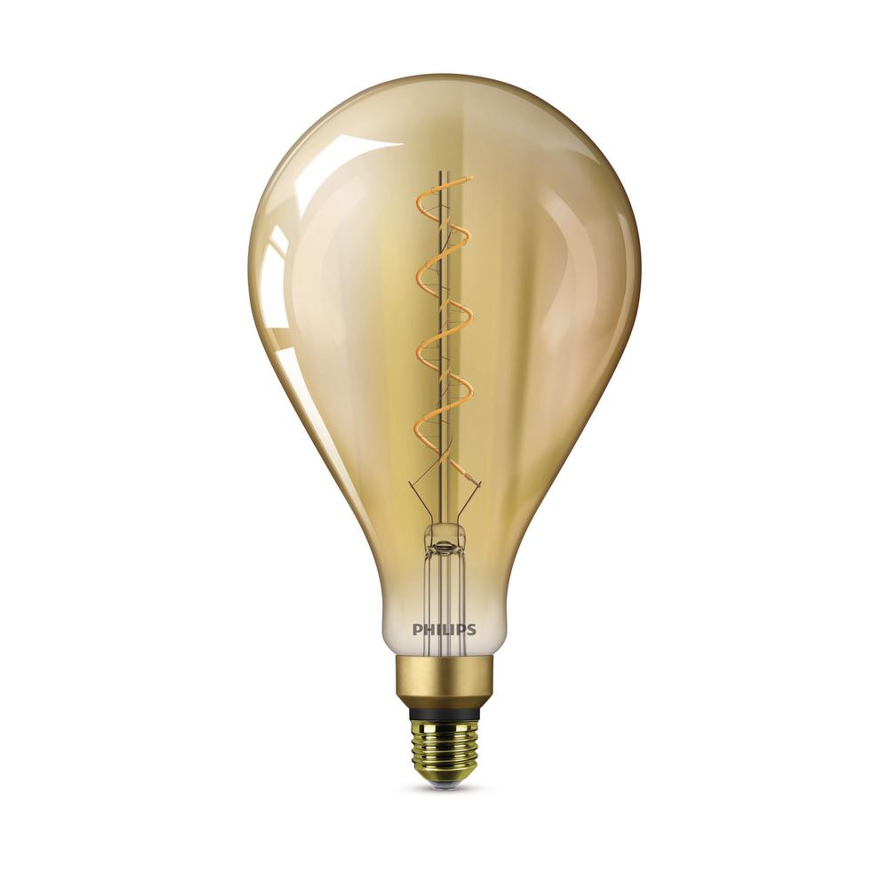 Philips 25-Watt Equivalent A50 Dimmable LED Large Light Bulb Vintage Amber Glass