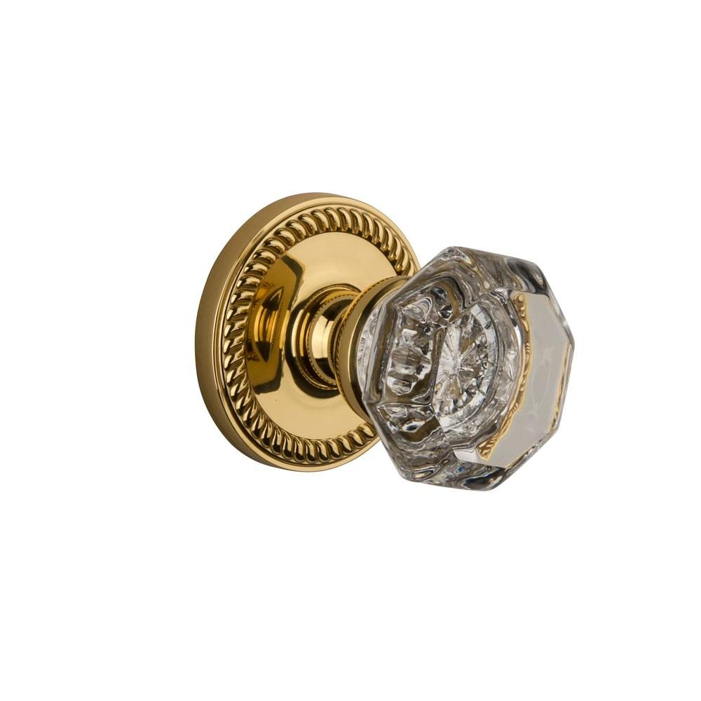 Grandeur Newport Rosette Polished Brass with Privacy Chambord Crystal Knob