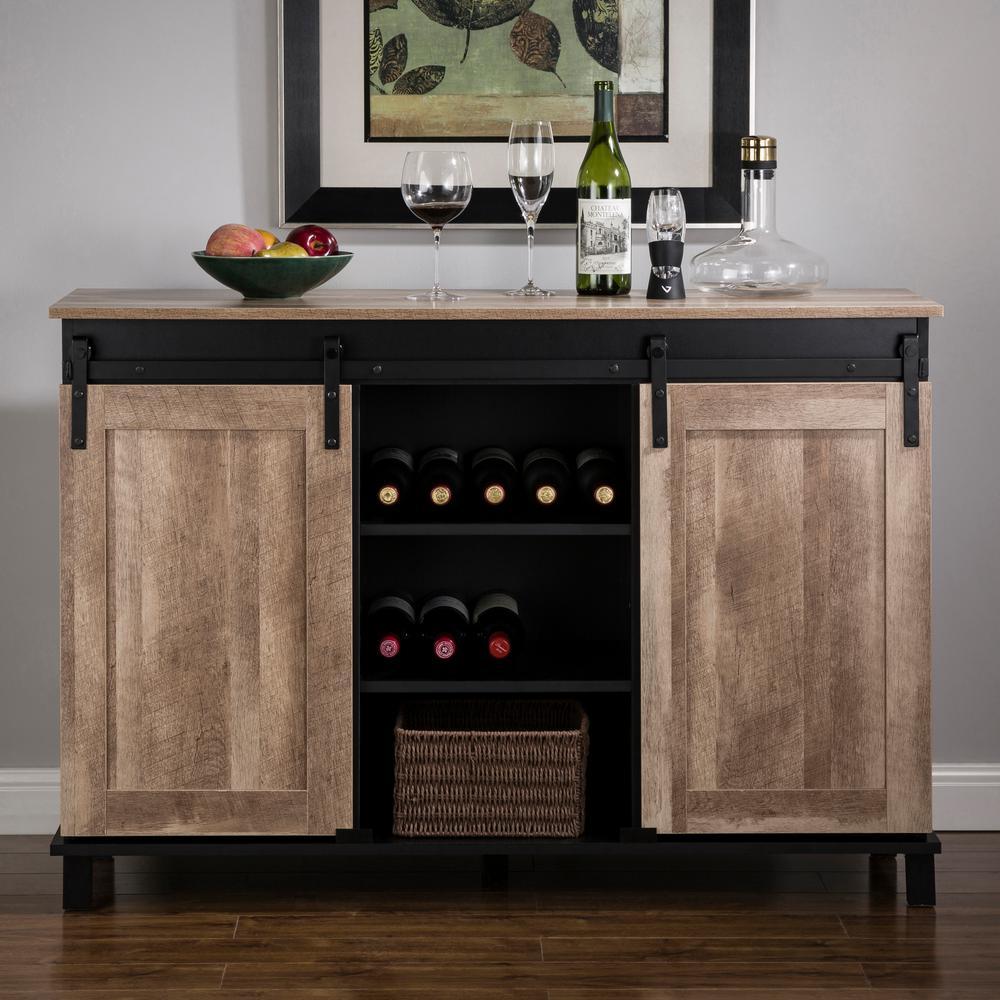 Glitzhome 47.20 in. L Modern Industrial Black Wine Cabinet ...