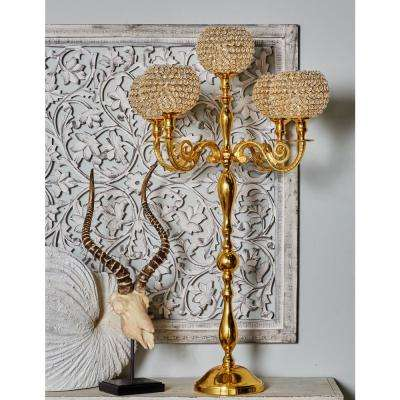 Gold Aluminum and Acrylic Candelabra with Bead Accents