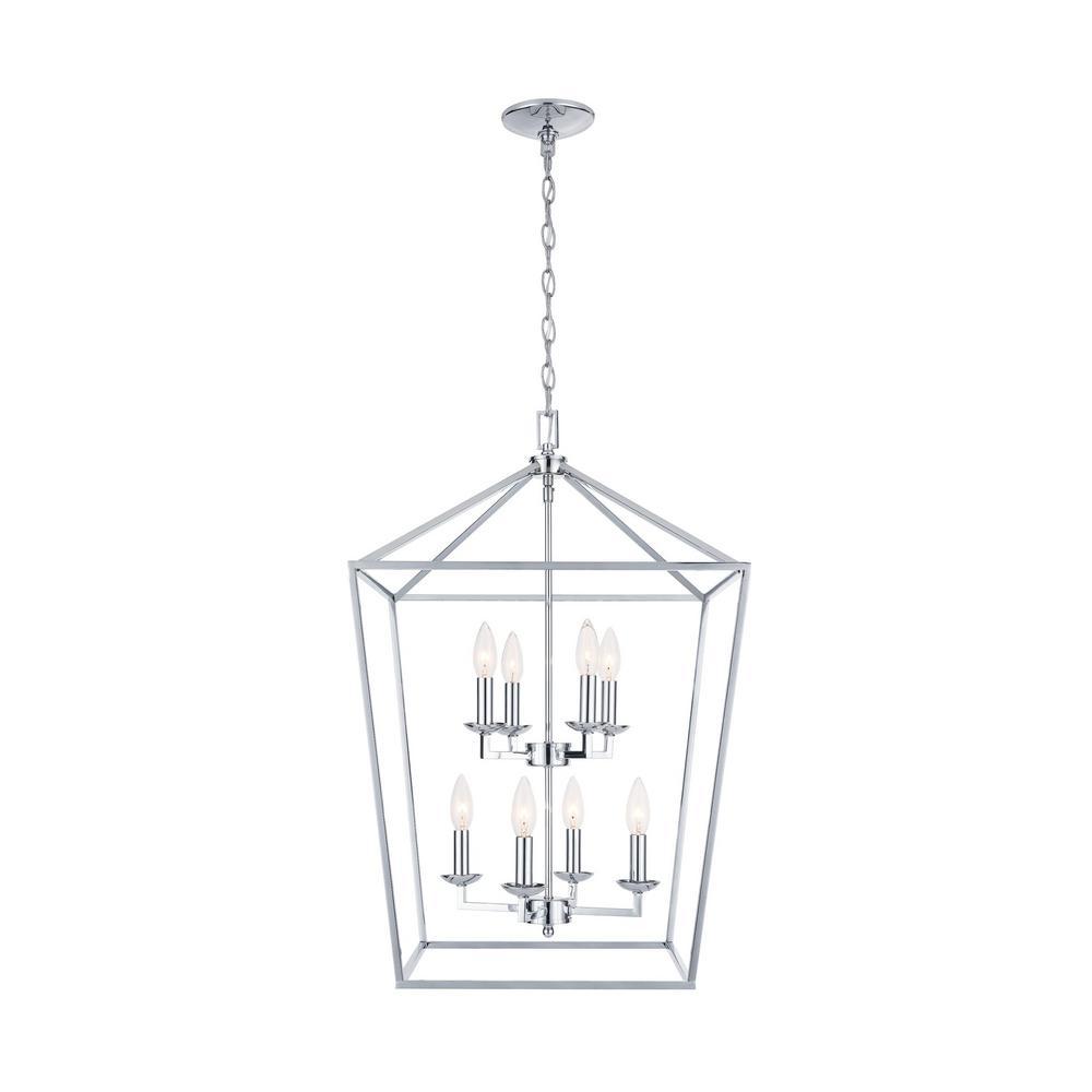 Weyburn 8-Light Polished Chrome Caged Chandelier