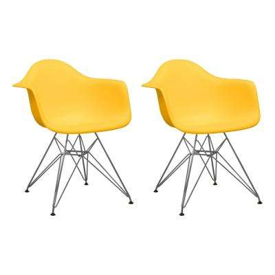 Paris Tower Yellow Dining Arm Chair with Chrome Legs (Set of 2)