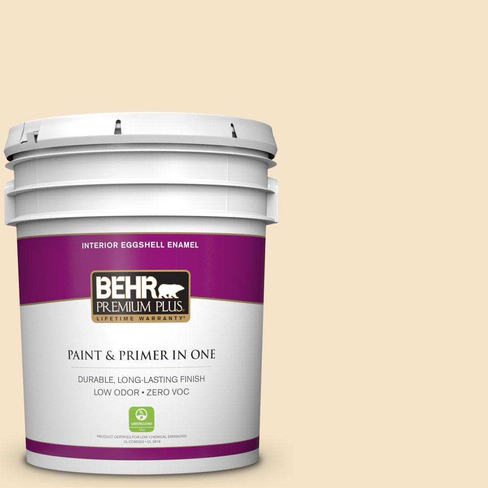 BEHR Premium Plus 5-gal. #330C-2 Lightweight Beige Zero VOC Eggshell Enamel Interior Paint
