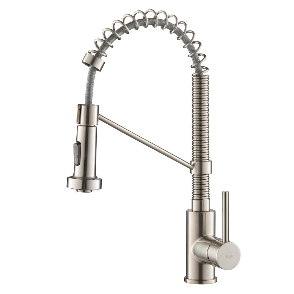 KRAUS Bolden Single-Handle Pull-Down Sprayer Kitchen Faucet with Dual  Function Sprayhead in Stainless Steel