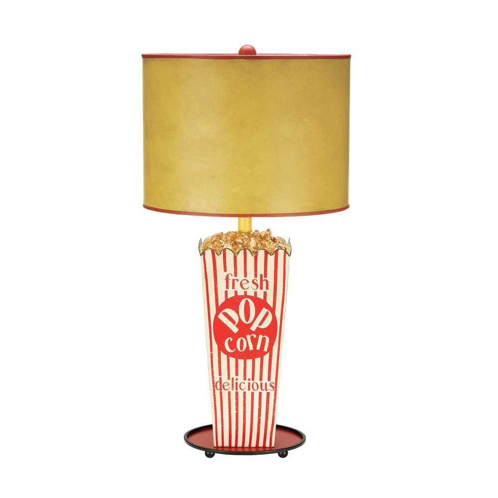 Titan Lighting Piquant 30 in. Movie Snack Table Lamp in Red and White