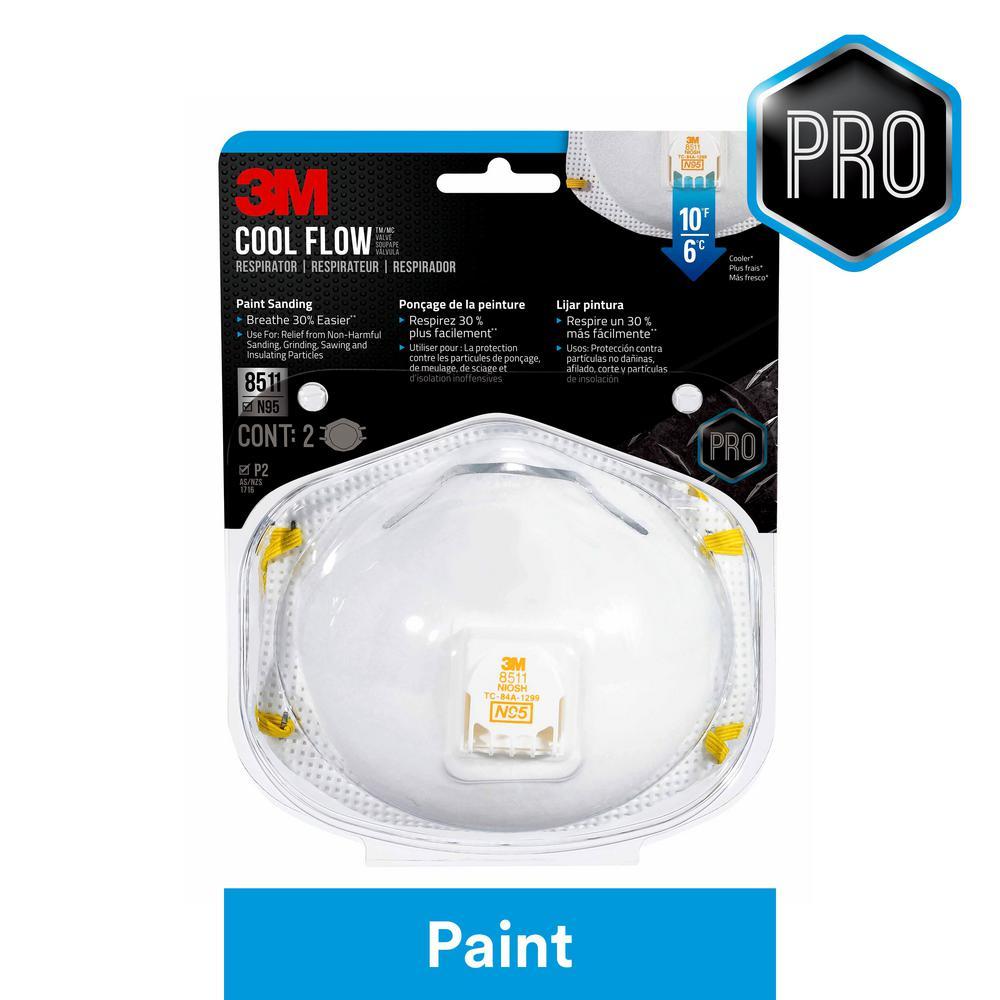 N95 Paint Sanding Valved Respirators Masks (2-Pack)