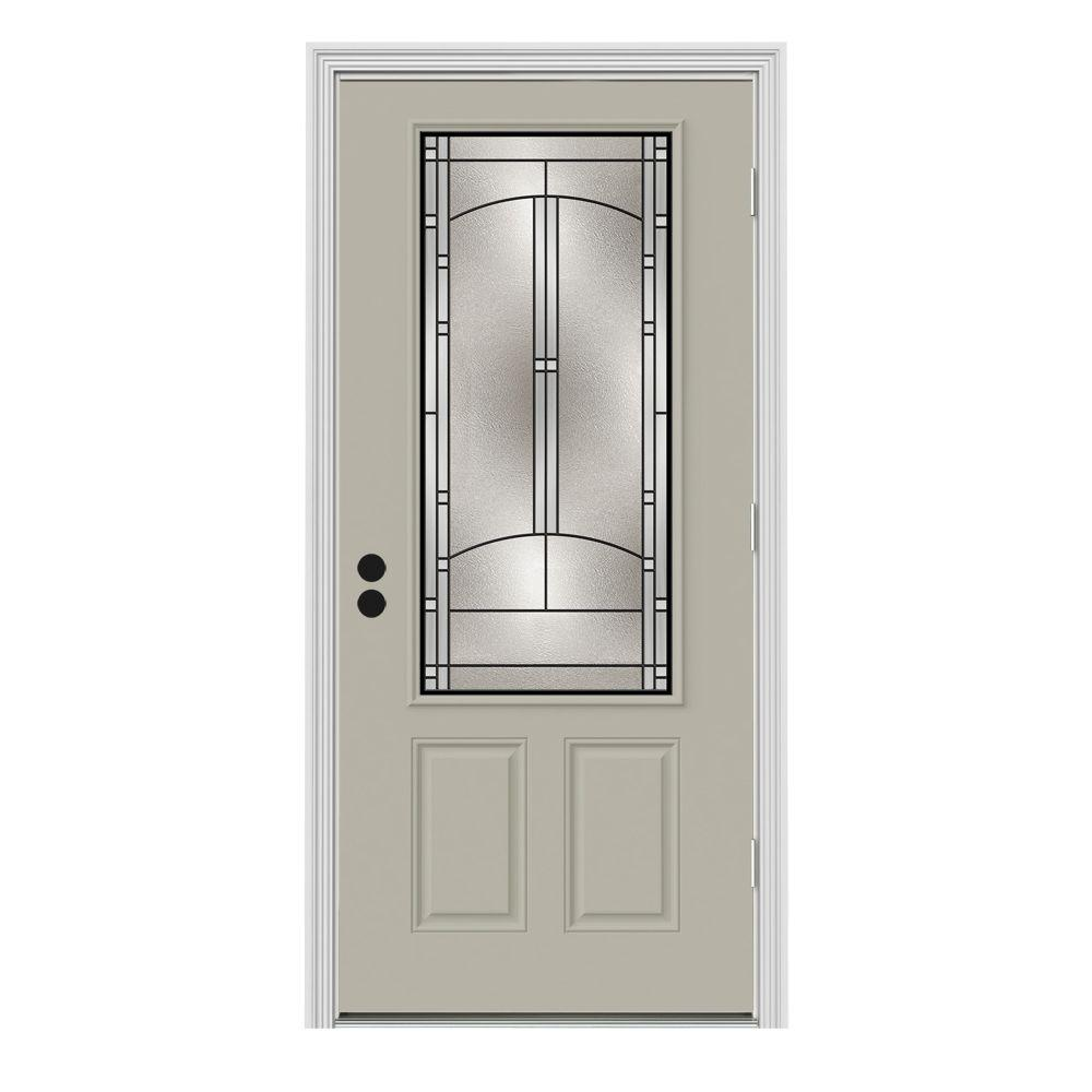 Jeld wen 36 in x 80 in 3 4 lite idlewild desert sand painted steel prehung left hand outswing 36 x 80 outswing exterior door