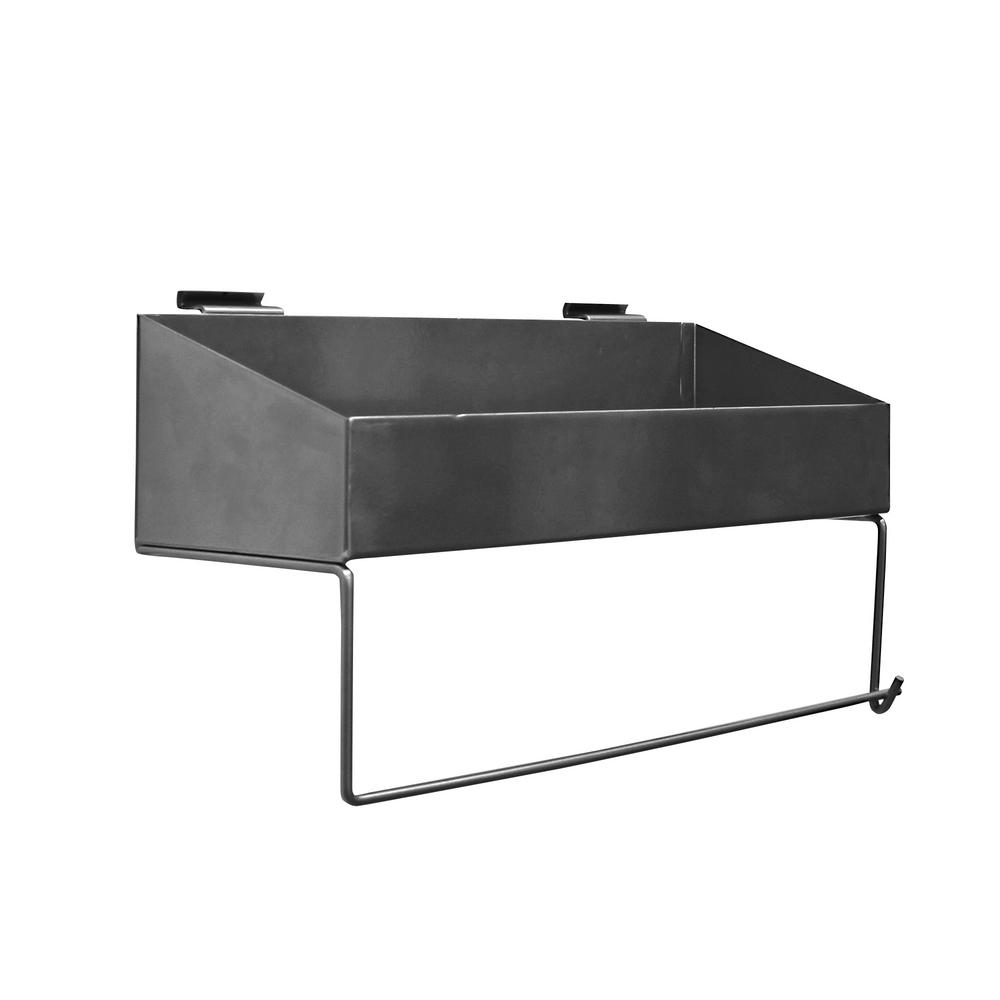 Proslat 16 5 In H X W 10 D Silver Paper Towel Holder And Solid Shelf