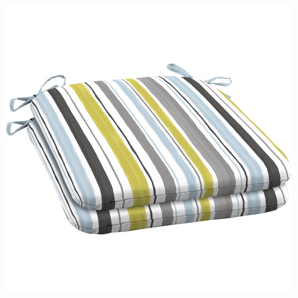 19 X 18 Aquamarine Kenda Stripe Outdoor Seat Cushion 2 Pack
