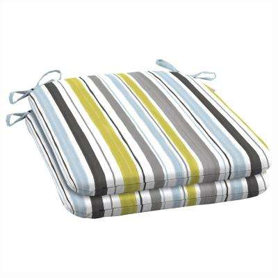 Aquamarine Kenda Stripe Outdoor Seat Cushion (Pack of 2)