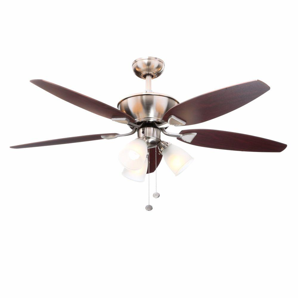 hamptonbay Hampton Bay Carrolton 52 in. Indoor Brushed Nickel Ceiling Fan with Light Kit
