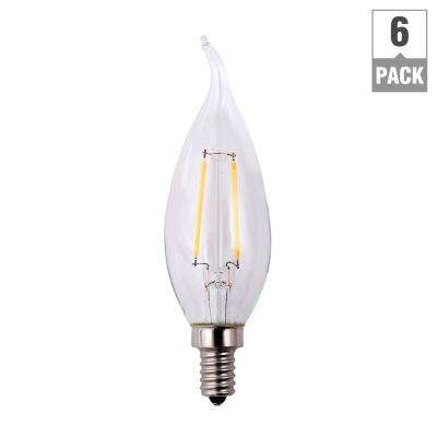 25-Watt Equivalent B11 Flame Tip E26 Base Dimmable Clear Glass Filament LED Light Bulb Daylight (6-Pack)