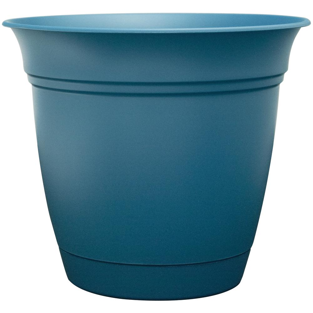 Belle 8 in. Dia. Pea Blue Plastic Planter with Attached Saucer on