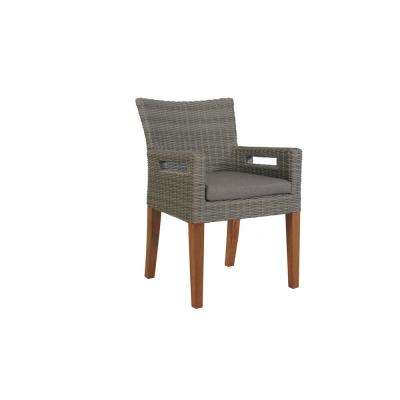 Grey Removable Cushions Wicker and Eucalyptus Outdoor Dining Chair with Olefin Cushion (2-Pack)