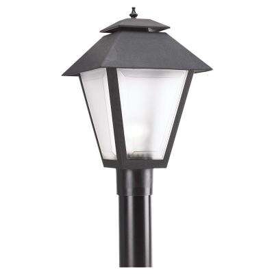Polycarbonate Outdoor Collection 10.5 in. W.   1-Light Outdoor Black Post Light with Frosted Lens