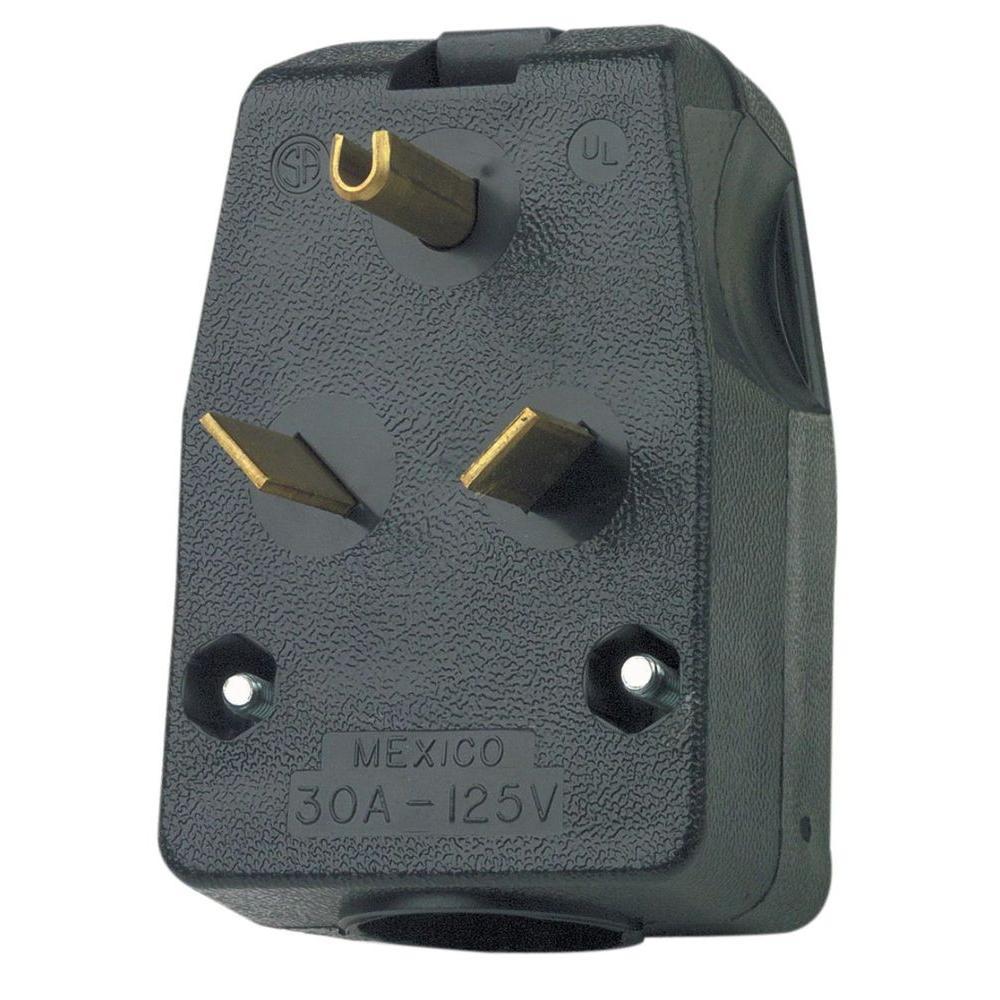 30 Amp 125-Volt 2-Pole Angle Travel Trailer Plug, Black