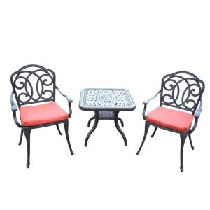Berkley 3-Piece Aluminum Outdoor Bistro Set with Red Cushions by