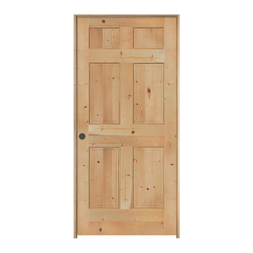 Jeld Wen 32 In X 80 In Knotty Pine Unfinished Right Hand 6 Panel Wood Single Prehung Interior