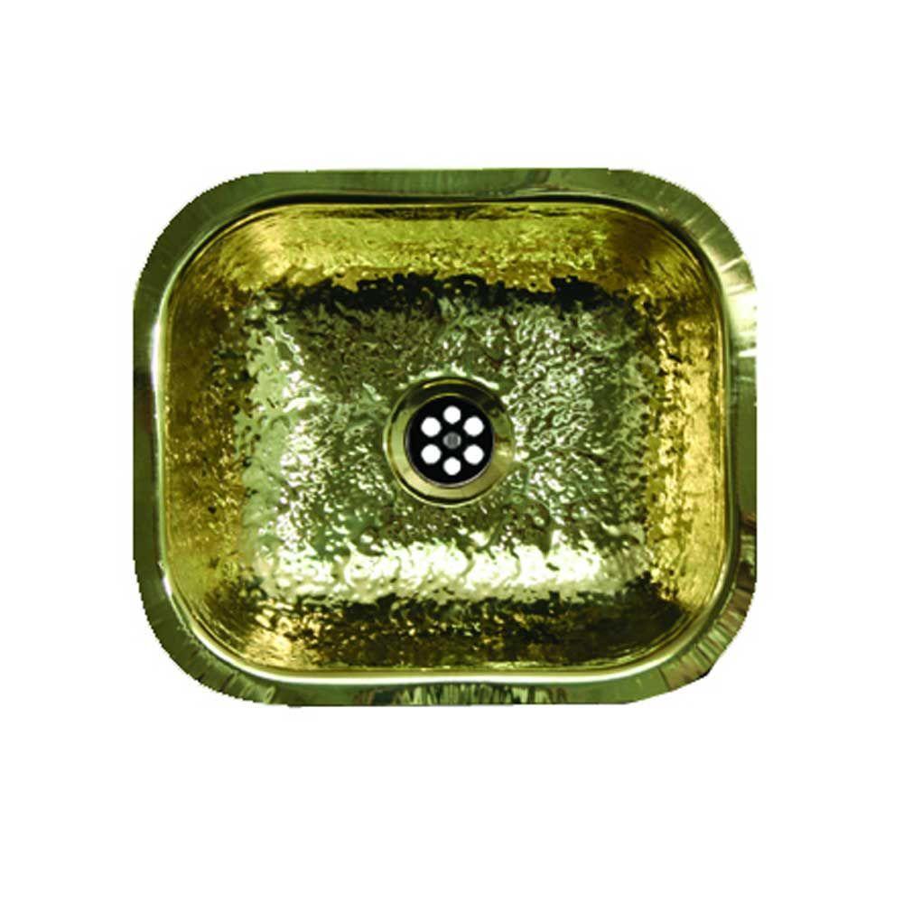 Undermount Brass 13-3/4 in. Single Bowl Bar Sink in Hammered Brass