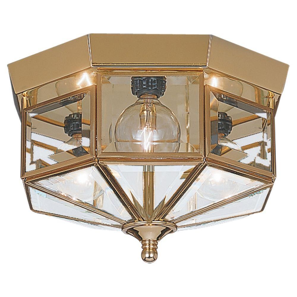 Grandover 3-Light Polished Brass Flushmount