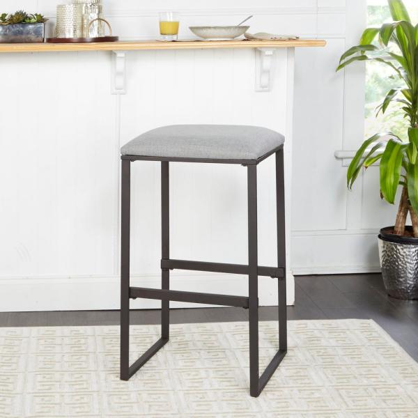 Silverwood Furniture Reimagined 24 in. Square Base Saddle Brown Bar Stool