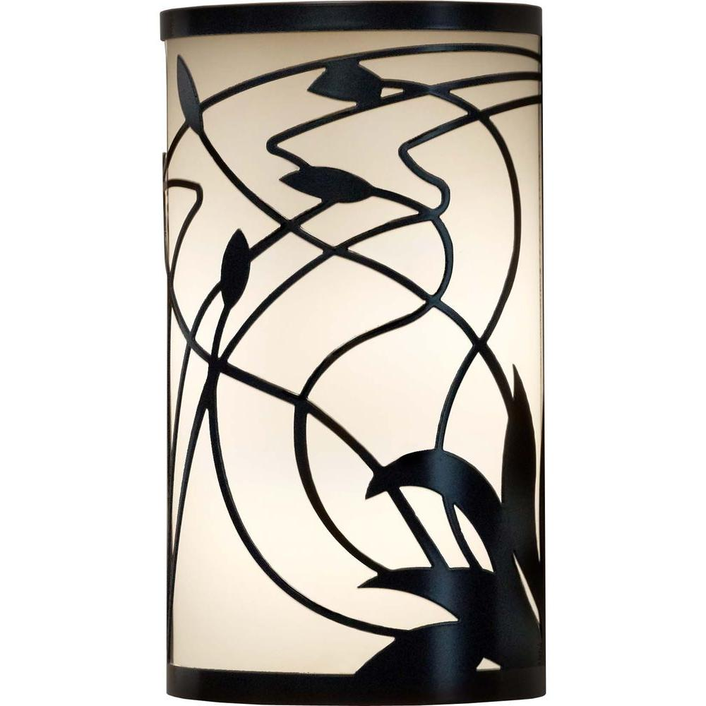 Filament Design 1-Light 12 in. Outdoor Black Wall Sconce with Opal White Shade