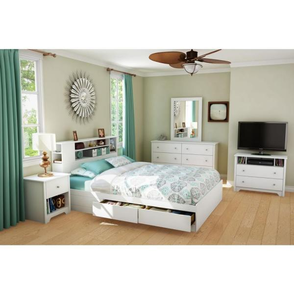 South Shore Vito 2 Drawer Queen Size Storage Bed In Pure White