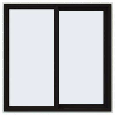48 in. x 48 in. V-4500 Series Black FiniShield Vinyl Right-Handed Sliding Window with Fiberglass Mesh Screen