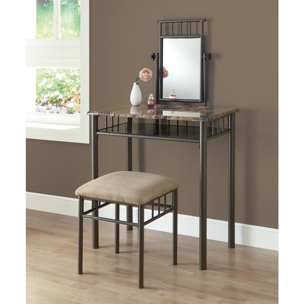 Monarch Specialties 2 Piece Cappuccino And Bronze Vanity Set