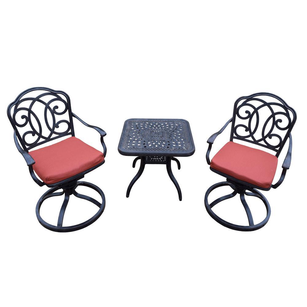 Berkley 3-Piece Aluminum Outdoor Bistro Set with Red Cushions