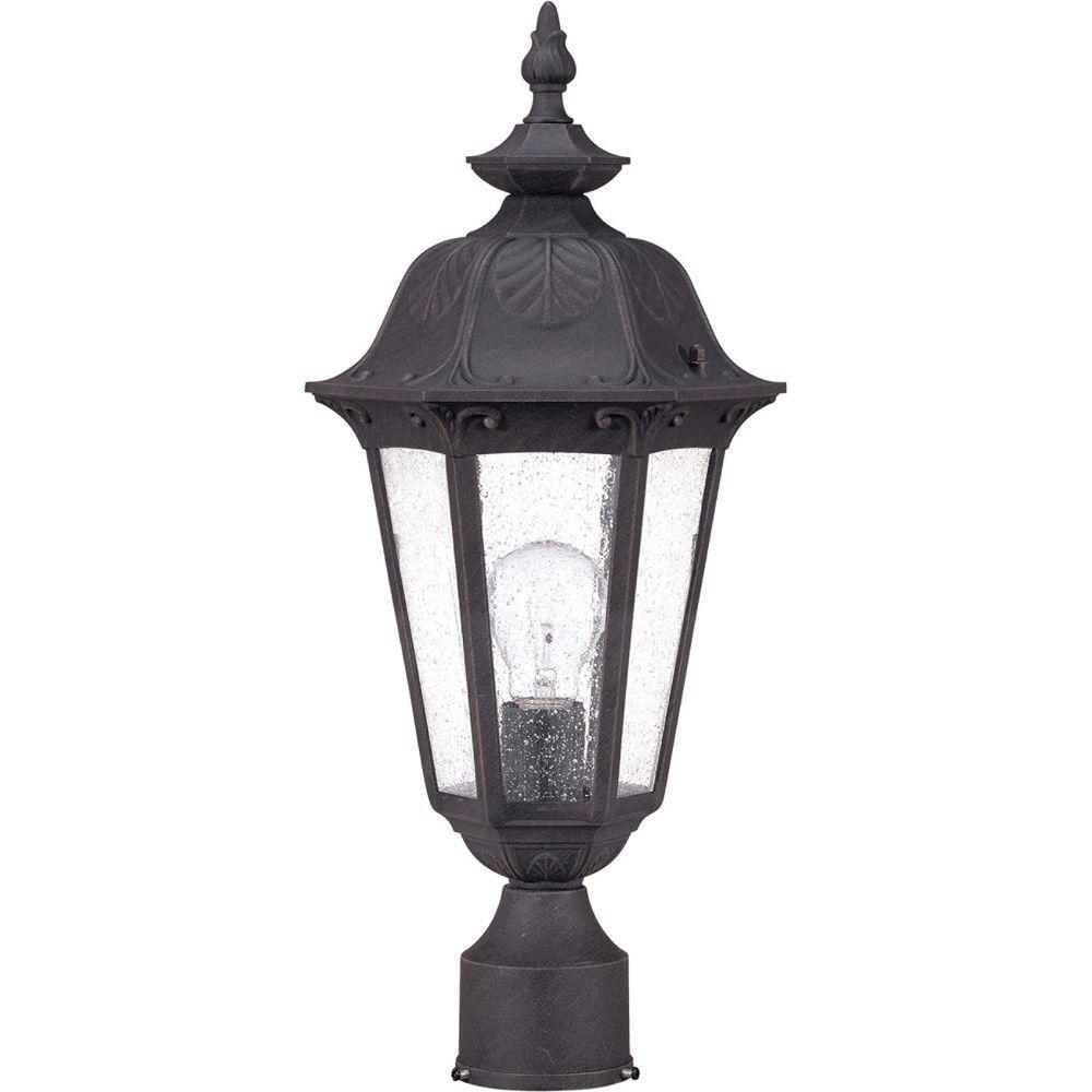1-Light Outdoor Satin Iron ore Incandescent Post Light