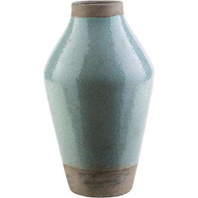 Sadorez 14.96 in. Sage Ceramic Decorative Vase