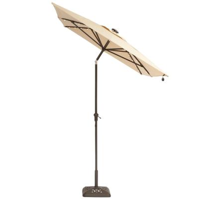 10 ft. x 6 ft. Aluminum Solar Outdoor Patio Umbrella in Cafe Tan