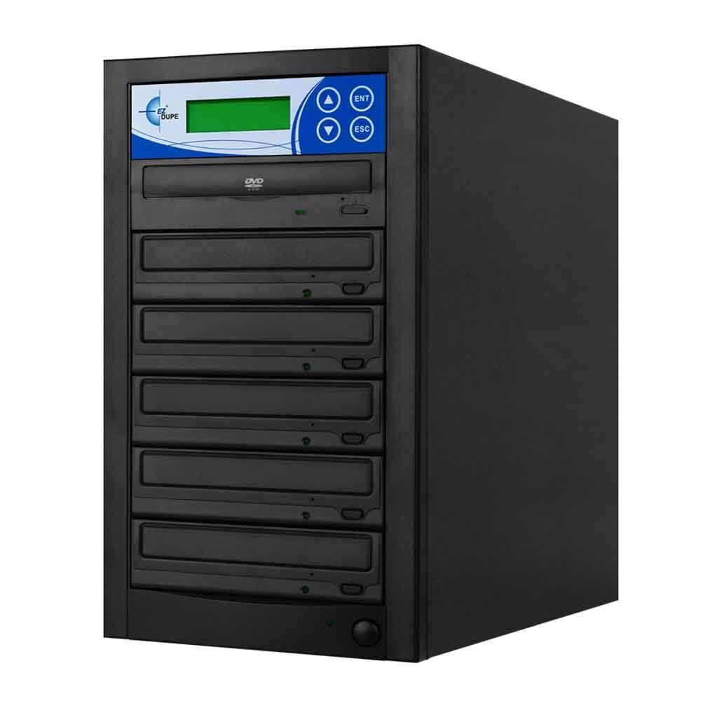 ezGear 5 Copy DVD/CD Duplicator Features 24x DVD Drives - Black Making duplicates from this commercial grade DVD/CD writer will take just minutes. With 16 x DVD write speed. DVD, DVD-R/RW, DVD+R/RW, CD, CD-r, CD-DA, VCD, CD-I, CD+G, photo CD and CD-mpeg formats supported.