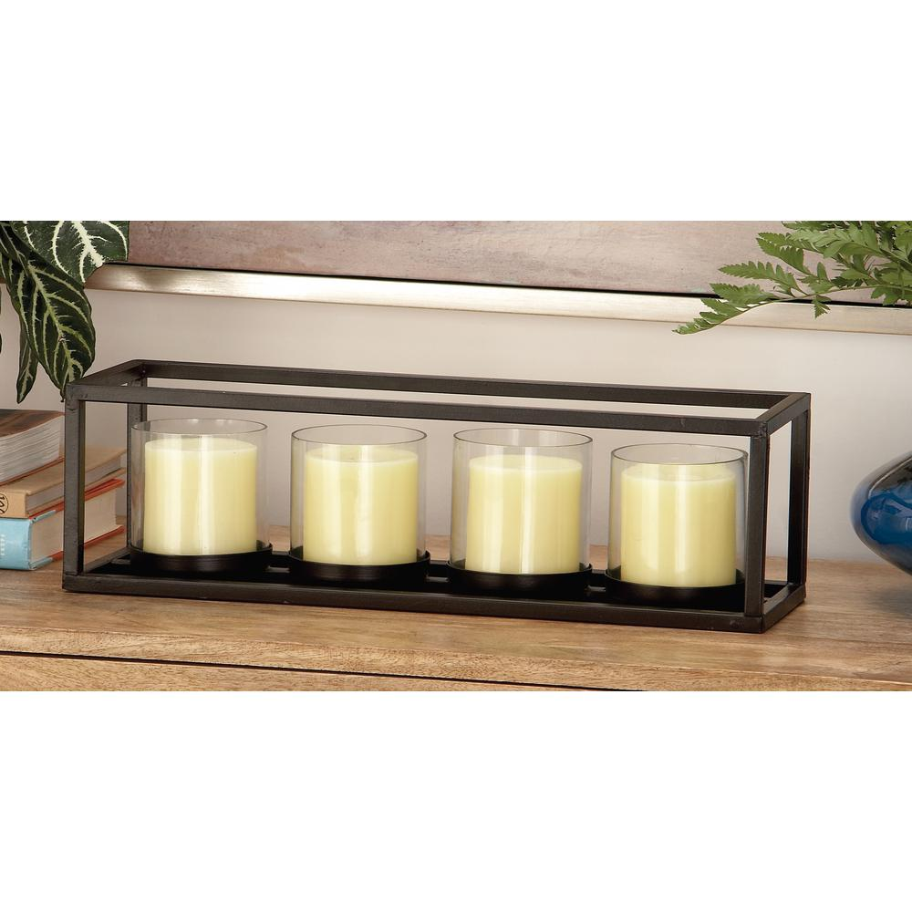 5 in. Black Iron and Clear Glass 4-Pedestal Rectangular Candle Holder