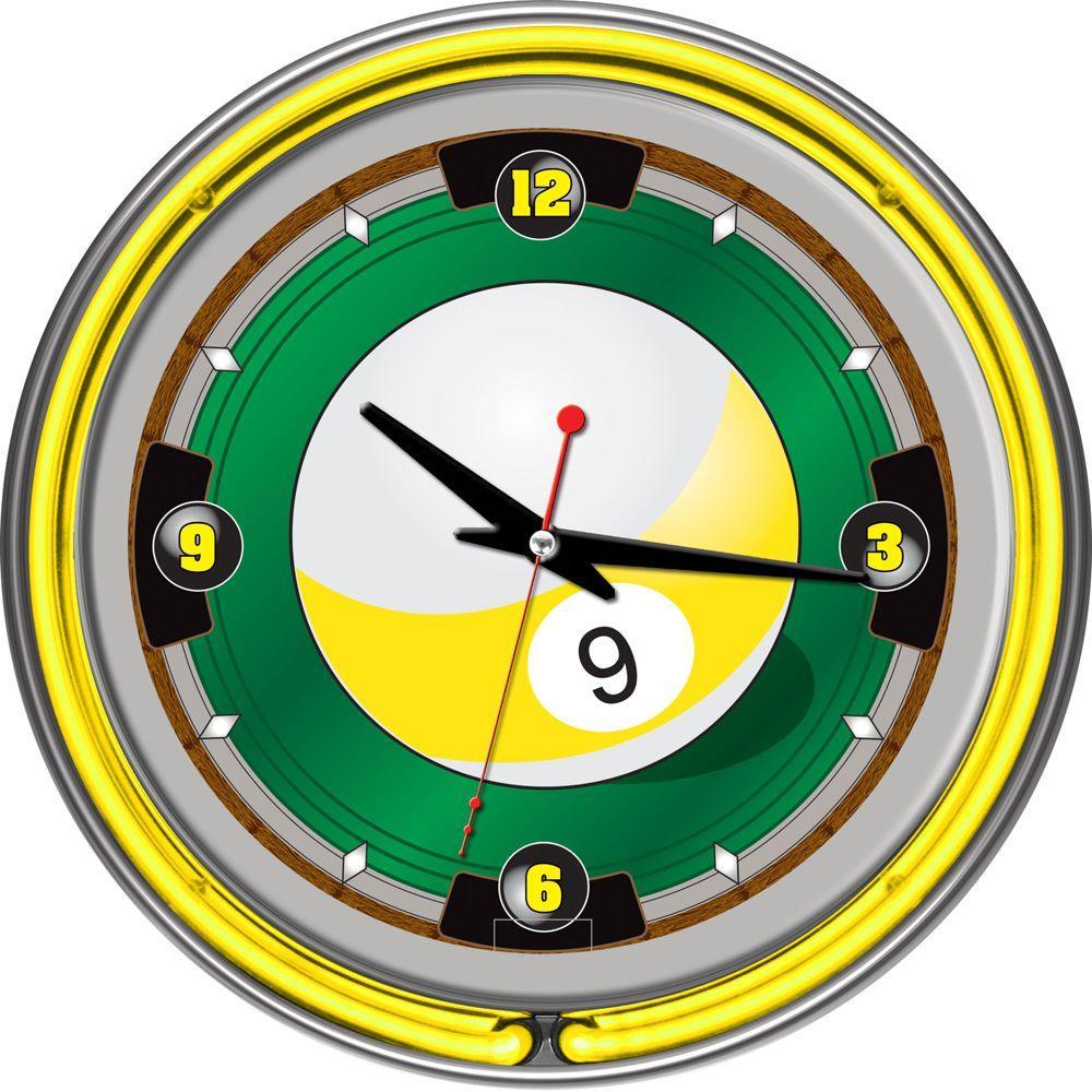 14 in. 9-Ball Neon Wall Clock