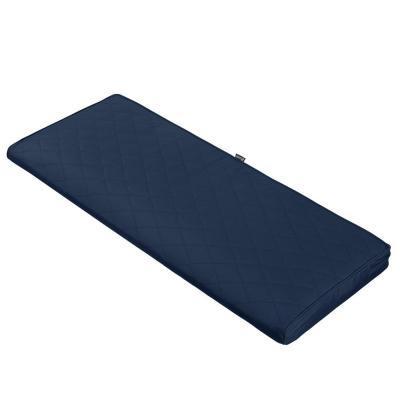 Montlake FadeSafe 54 in. W x 18 in. D x 3 in. Thick Navy Rectangular Outdoor Quilted Bench Cushion