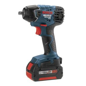 Bosch 18 Volt Lithion-Ion Cordless Electric 3/8 inch Power Impact Wrench Kit with (2) 4.0Ah Batteries by Bosch
