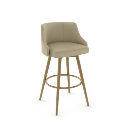 Duncan 26 in. Matt Sun Gold Metal Beige Fabric Counter Stool