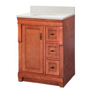 Naples 25 in. W x 22 in. D Vanity in Warm Cinnamon with Engineered Marble Vanity Top in Winter White with White Sink