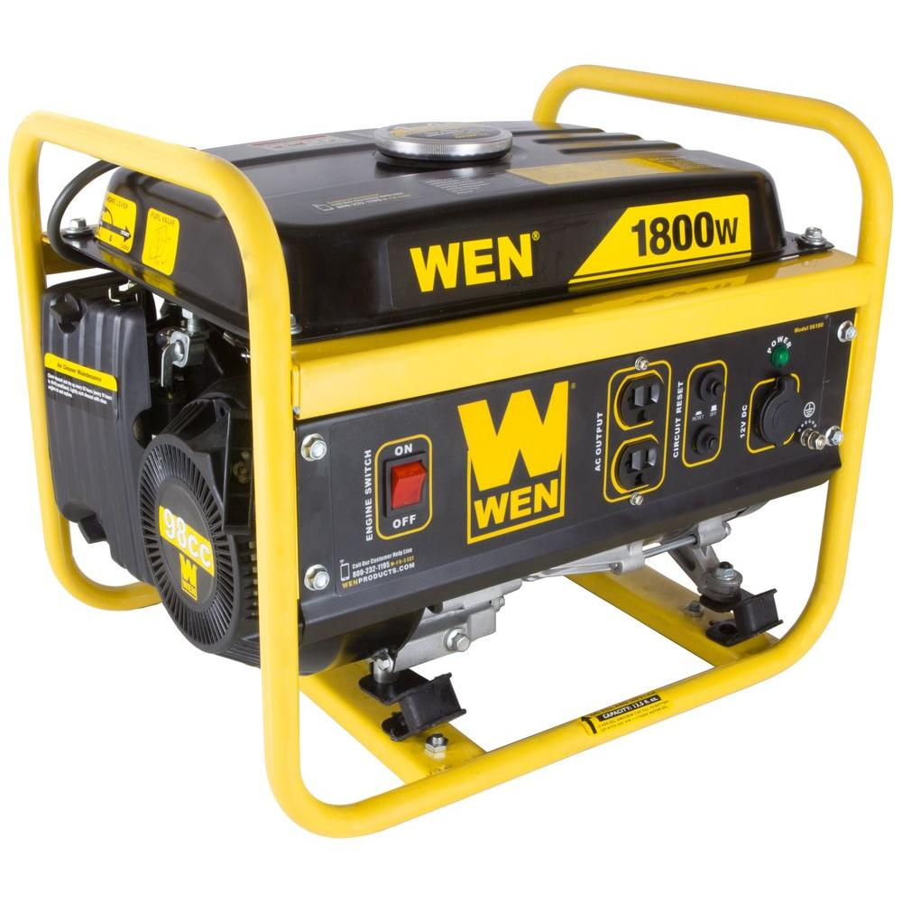 worksheet Generator Wattage Worksheet wen 1800 watt gasoline portable generator carb compliant 56180 the home depot