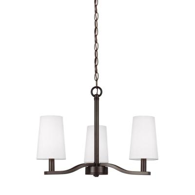 Nance 3-Light Heirloom Bronze Chandelier and Faux Silk Shades with Dimmable Candelabra LED Bulb