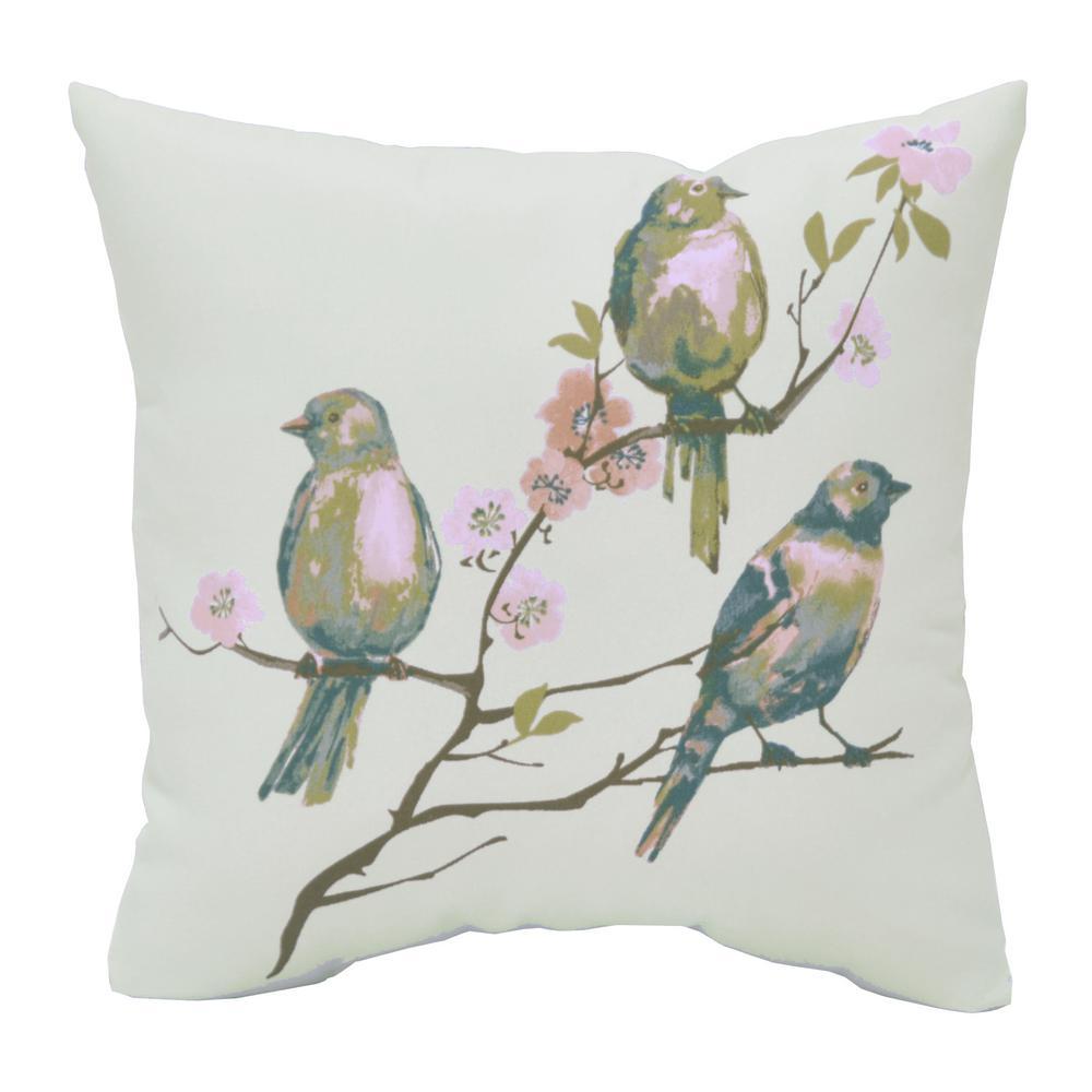 Hampton Bay Beachglass Birds Square Outdoor Throw Pillow 7680 04526311 The Home Depot