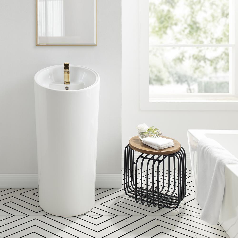 St. Tropez 1-piece Circular Pedestal Sink in Glossy White